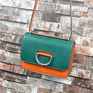 Women's green leather small square crossbody bag